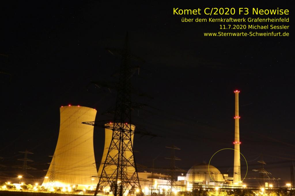 Komet C/2020 F3 Neowise über dem Kernkraftwerk Grafenrheinfeld am 12.7.2020. Aufgenommen von Michael Sessler