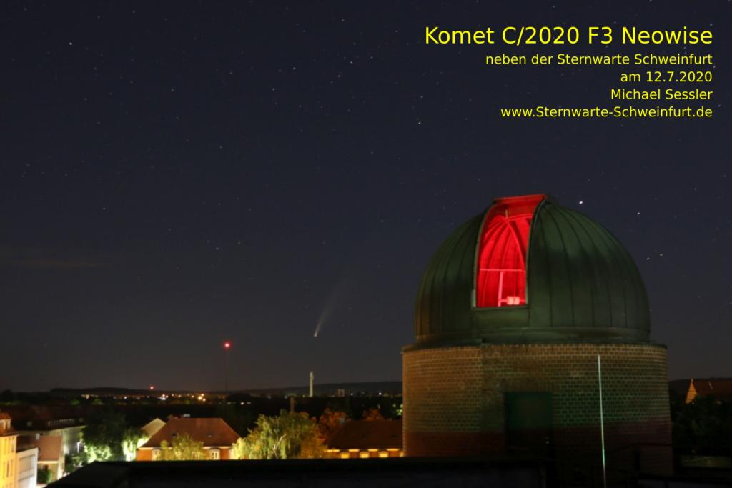 Komet C/2020 F3 Neowise neben der Sternwarte Schweinfurt am 12.7.2020. Aufgenommen von Michael Sessler